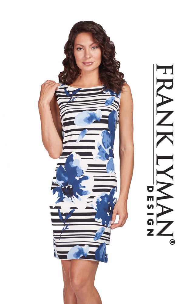 186867 Navy Frank Lyman Floral Print Dress - Fab Frocks