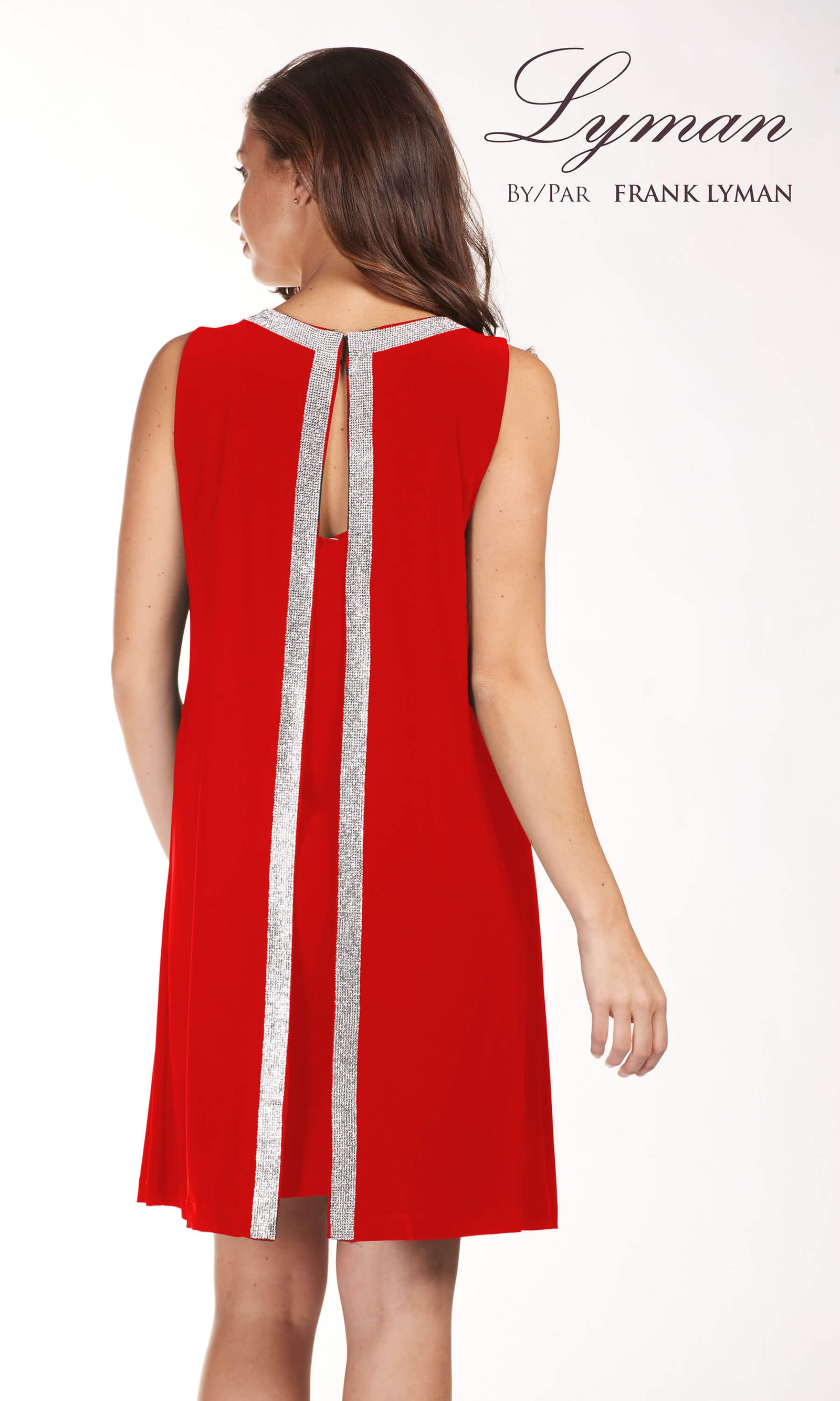 189224 Red Frank Lyman Dress With Diamante Detail - Fab Frocks