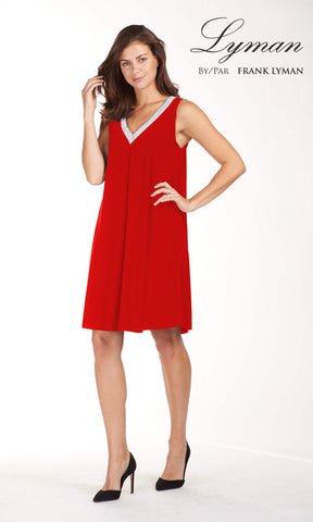 189224 Red Frank Lyman Dress With Diamante Detail