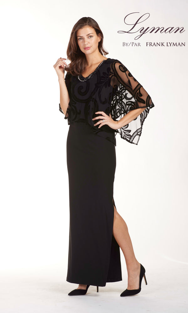 189385 Black Frank Lyman Long Evening Dress With Cape - Fab Frocks