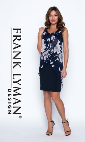 191530 Navy Frank Lyman Dress With Print Chiffon Overlay