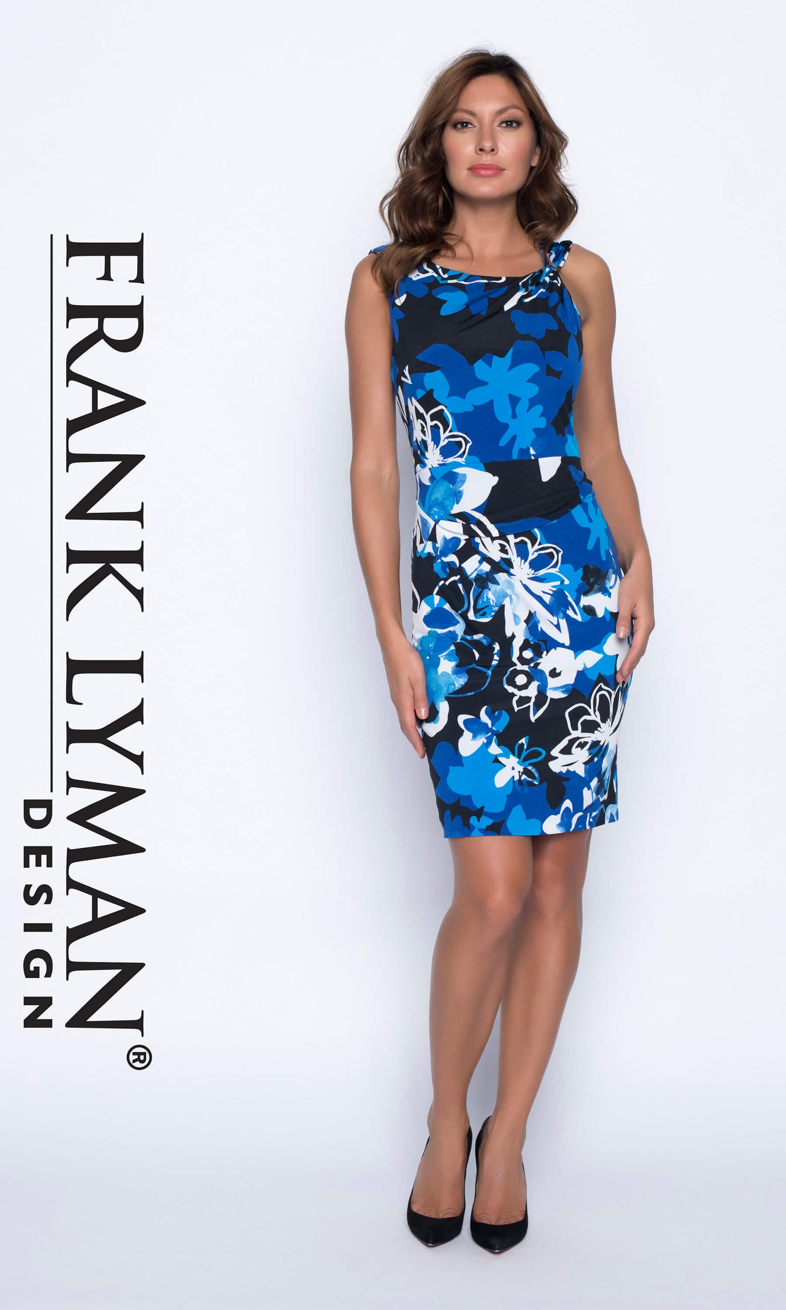 191701 Blue Black Frank Lyman Jersey Print Dress