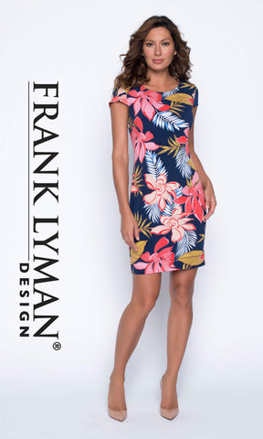 191710 Navy Red Frank Lyman Reversible Jersey Print Dress