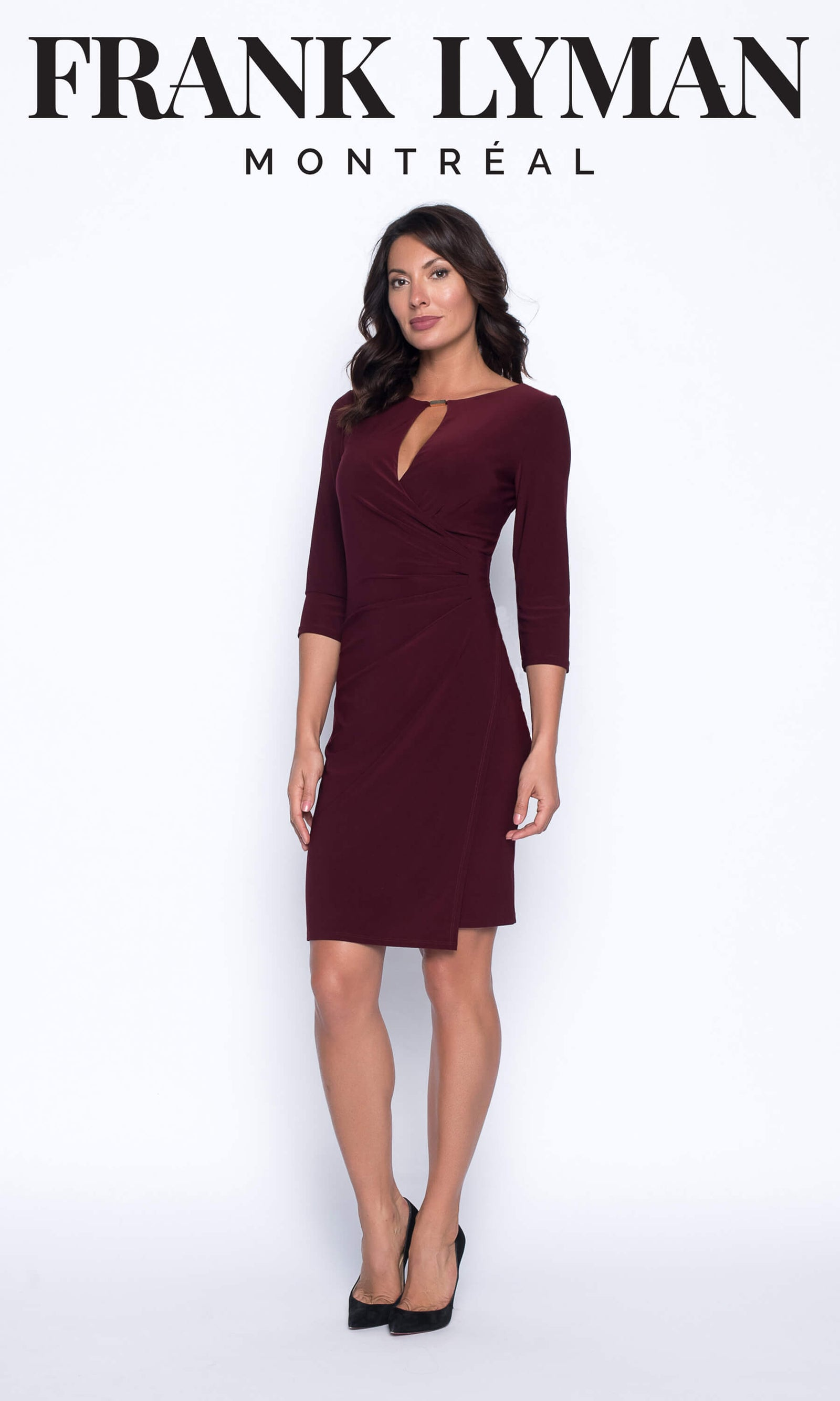 194065 Burgundy Frank Lyman Jersey Wrap Style Dress - Fab Frocks