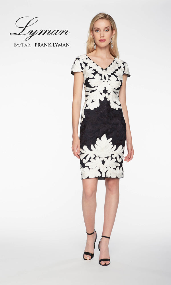 198113u Black Off White Frank Lyman Monochrome Dress