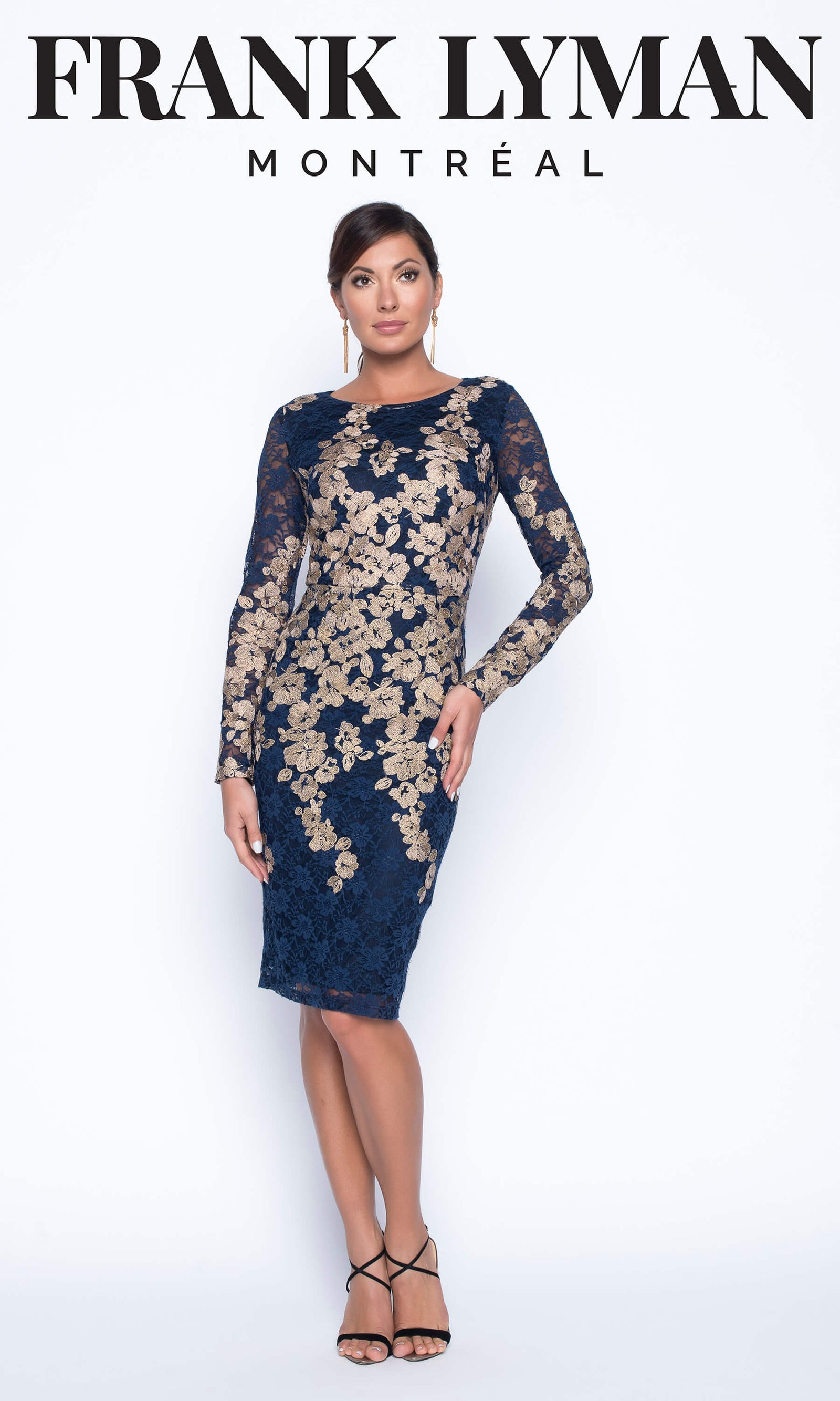 199449 Navy Frank Lyman Lace Dress & Antique Gold Sequins