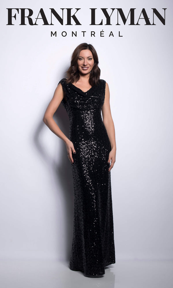 209101U Black Frank Lyman Sequin Evening Dress - Fab Frocks