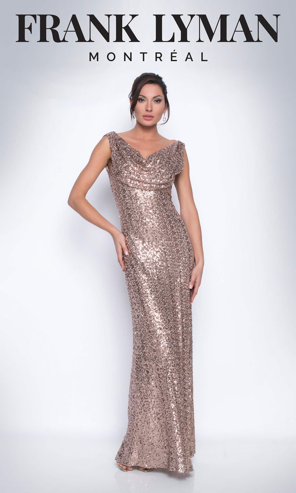 209101U Rose Gold Frank Lyman Sequin Evening Dress - Fab Frocks