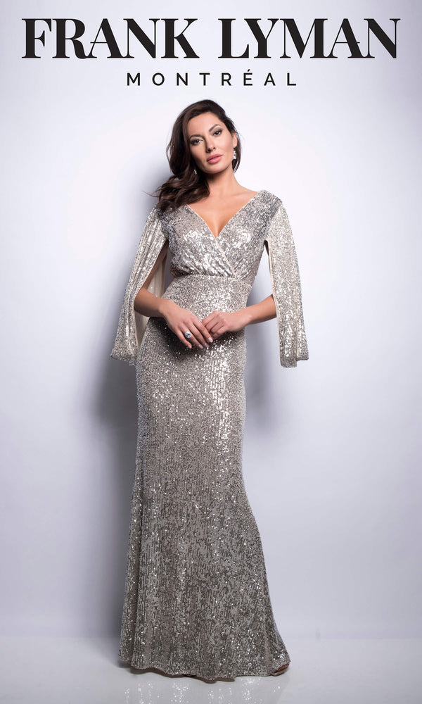 209109U Beige Frank Lyman Sequin Evening Dress - Fab Frocks