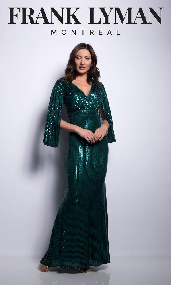 209109U Green Frank Lyman Sequin Evening Dress - Fab Frocks