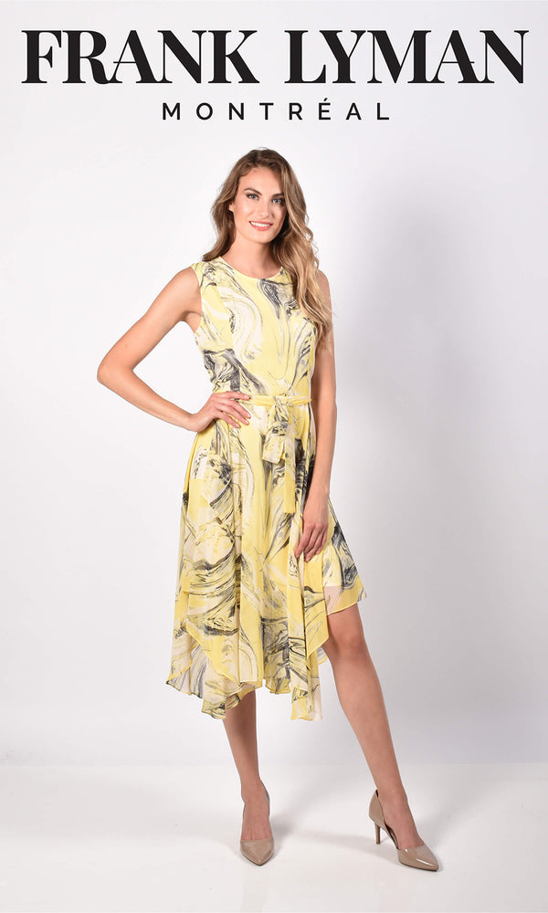 Frank Lyman 216441 Lemon Print Chiffon Handkerchief Hem Dress - Fab Frocks