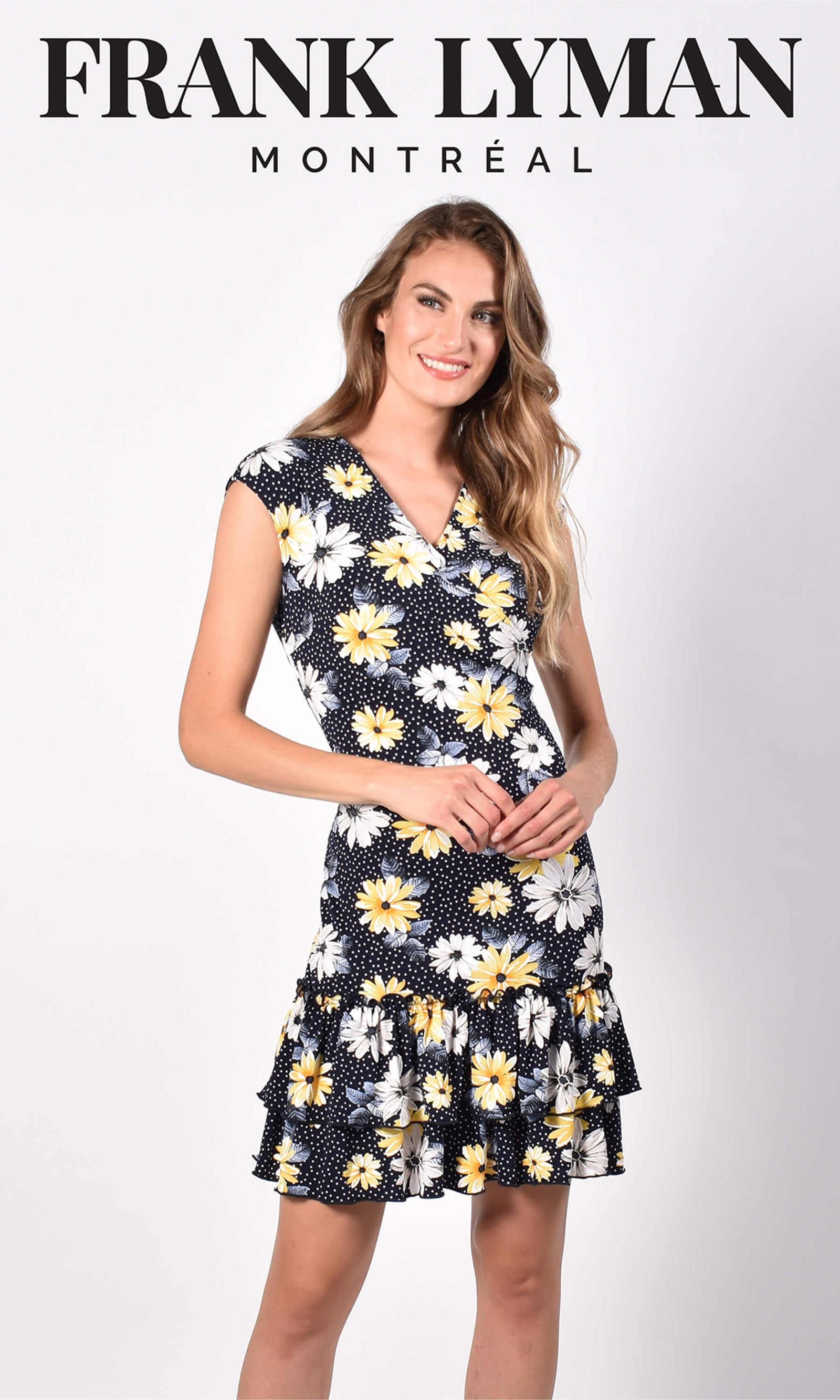 Frank Lyman 216590 Navy Yellow Floral Polka Dress - Fab Frocks