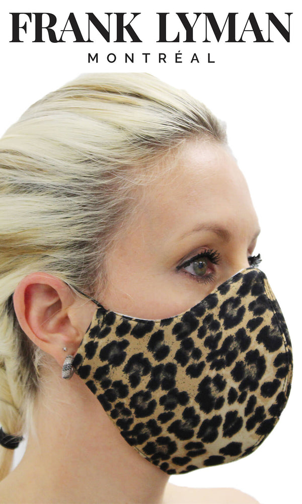 Frank Lyman jaguar print jersey non-medical mask with elastic ear loops. Ideal for when you are leaving the house, visiting shops or using public transport.