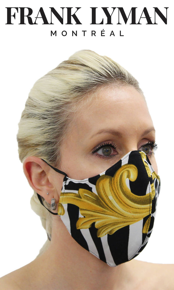 Frank Lyman Black Animal Print Non-Medical Face Mask