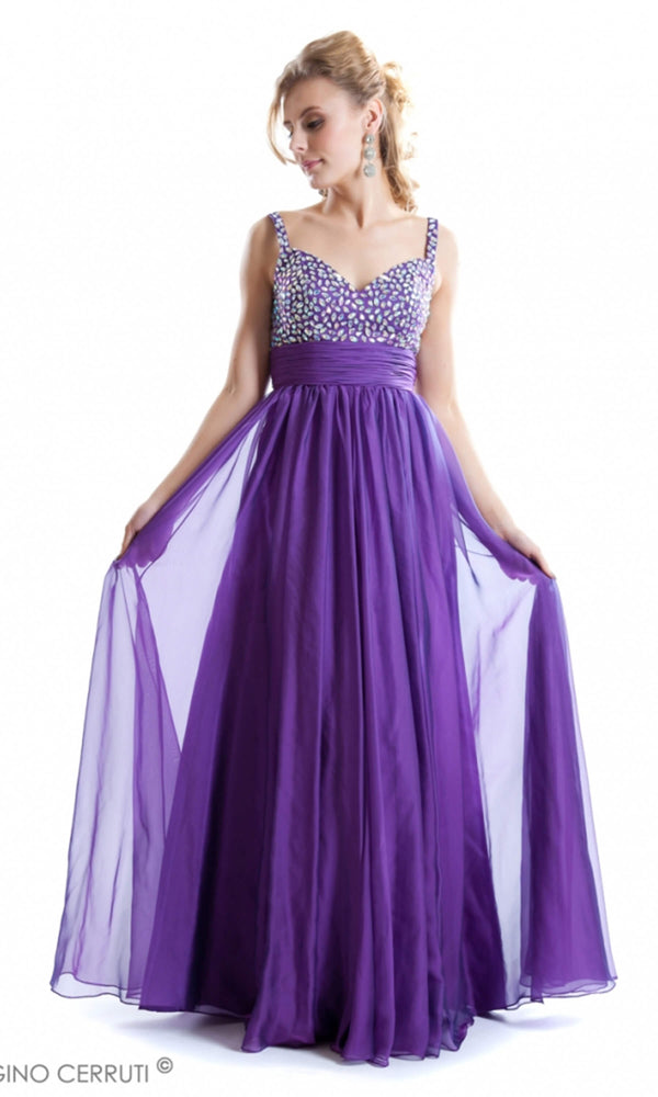 1505C Purple Gino Cerruti Crystal Bodice Evening Dress - Fab Frocks