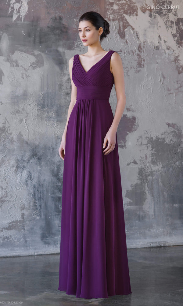 4066H Plum Gino Cerruti Chiffon Floaty Evening Prom Dress