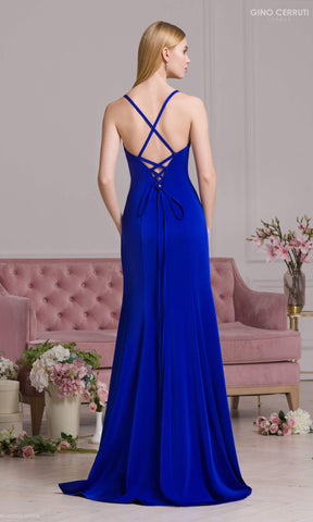 4076S Royal Blue Gino Cerruti Backless Evening Prom Dress