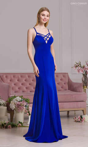 4076S Royal Blue Gino Cerruti Backless Evening Prom Dress - Fab Frocks