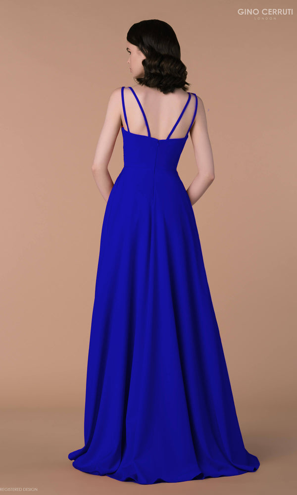 4090H Royal Blue Gino Cerruti Simple Prom Evening Dress