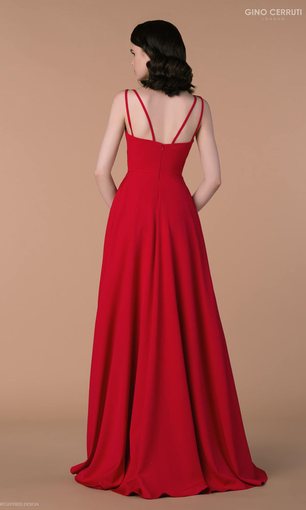 4090H Red Gino Cerruti Simple A-Line Prom Evening Dress - Fab Frocks
