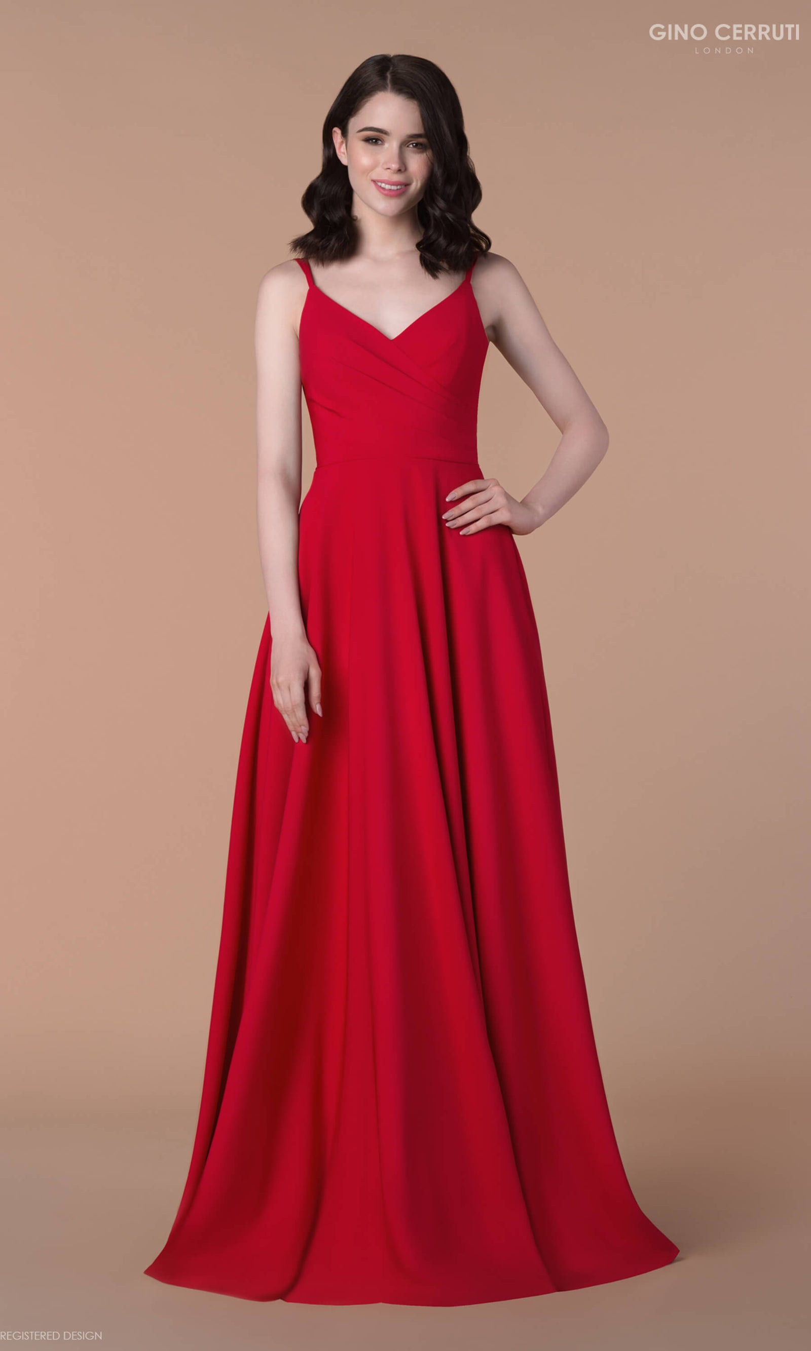 4090H Red Gino Cerruti Simple A-Line Prom Evening Dress