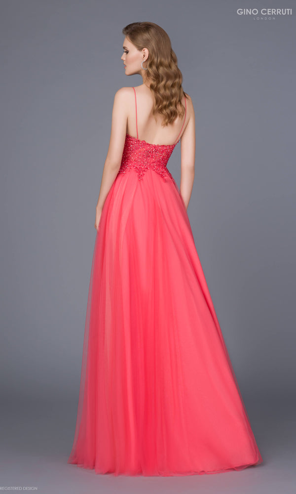 6257Y Dark Coral Gino Cerruti Tulle Prom Evening Dress - Fab Frocks