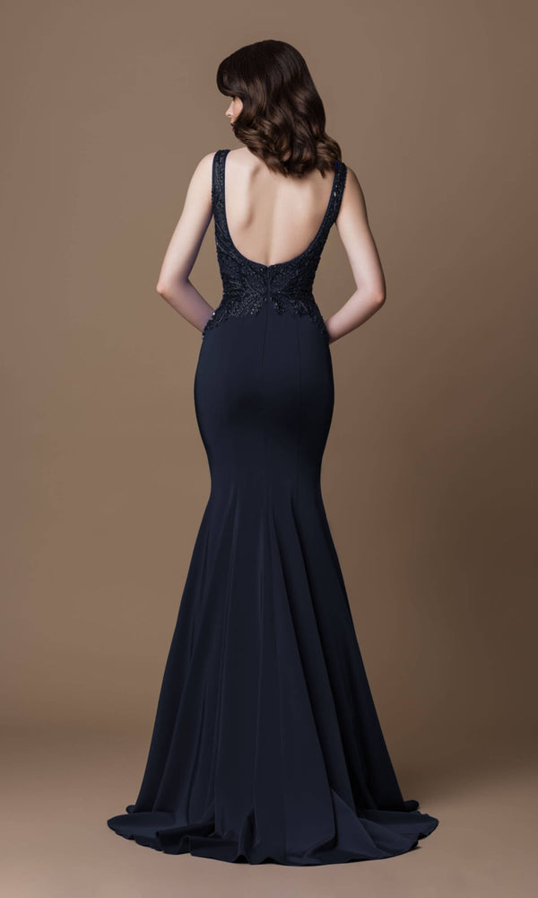 7058B Black Gino Cerruti Plunge Neck Fit And Flare Dress