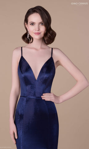 7157H Midnight Blue Gino Cerruti Luxe Evening Prom Dress