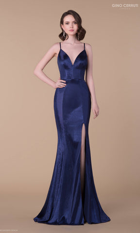 7157H Midnight Blue Gino Cerruti Luxe Evening Prom Dress - Fab Frocks
