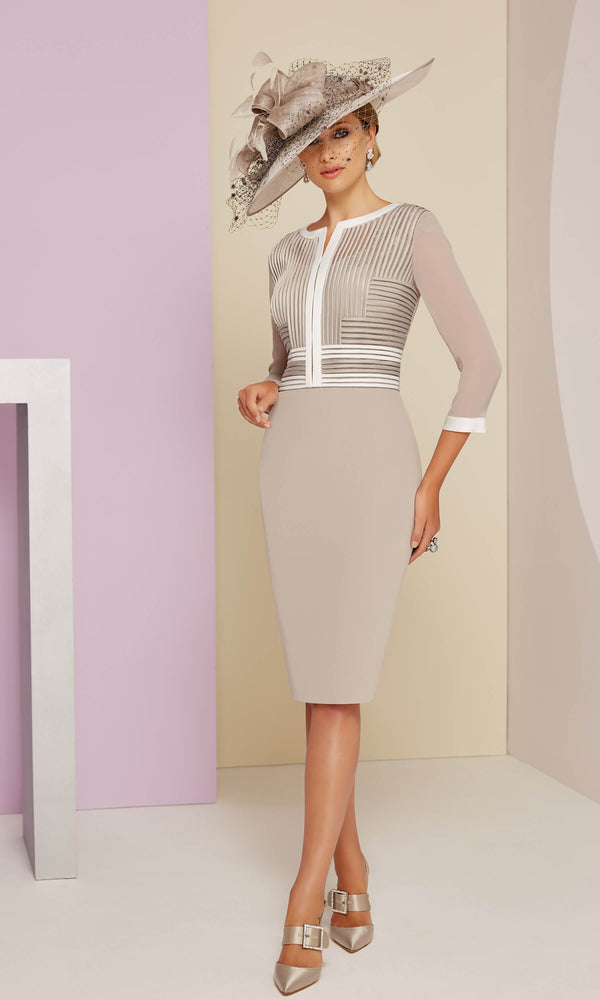 991402 Taupe Ivory Veni Infantino Dress & Bolero Jacket