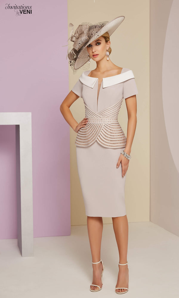 991403 Taupe Veni Infantino Peplum Special Occasion Dress - Fab Frocks