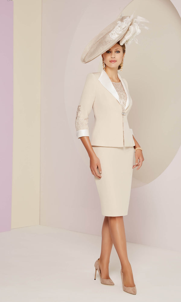 991422 Almond Ivory Veni Infantino Dress & Jacket - Fab Frocks