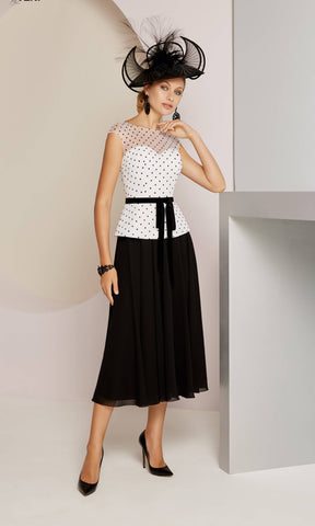 991425 Black Veni Infantino Polka Dot Occasion Dress - Fab Frocks