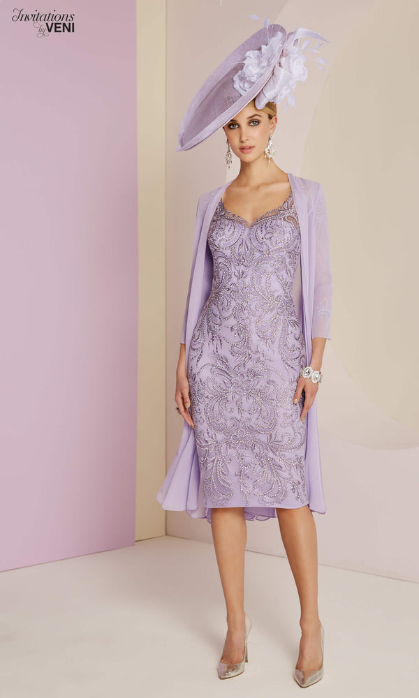 991435 Lilac Veni Infantino Dress & Floaty Chiffon Coat