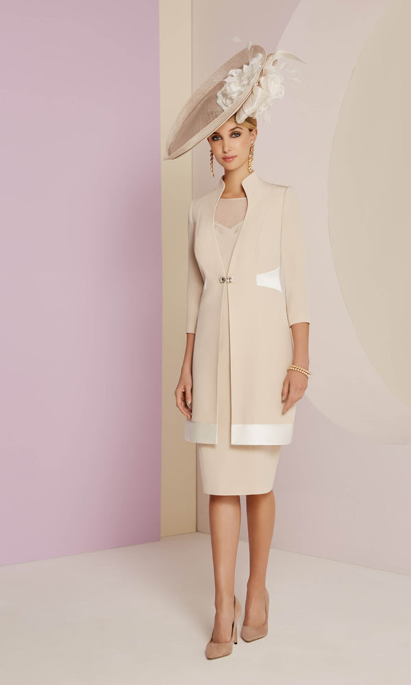 991439 Almond Ivory Veni Infantino Dress & Frock Coat - Fab Frocks