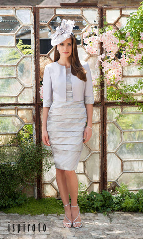 ISC900 Musk Grey Ispirato Dress With Sleeves & Bolero