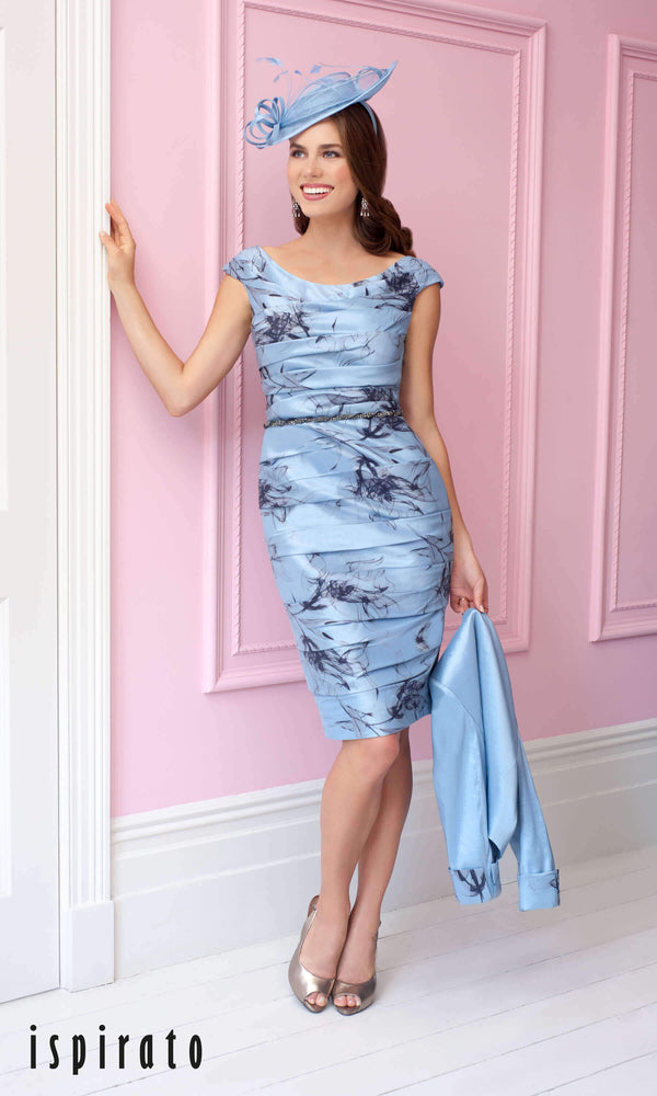 ISC960 Aura Dusty Blue Ispirato Ruched Dress & Bolero