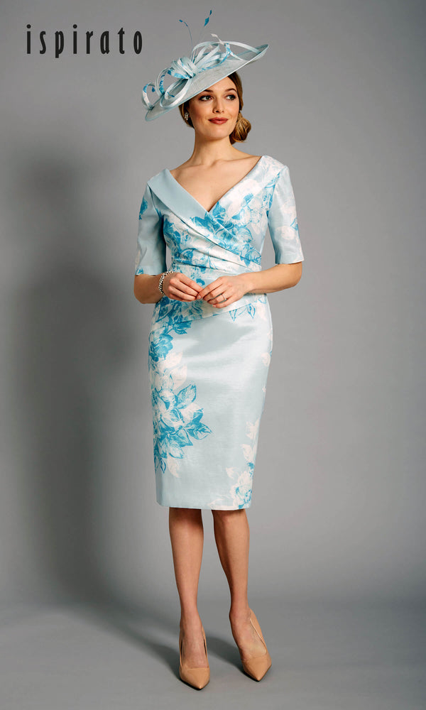 ISD827 Reines Blue Cream Ispirato Floral Occasion Dress - Fab Frocks