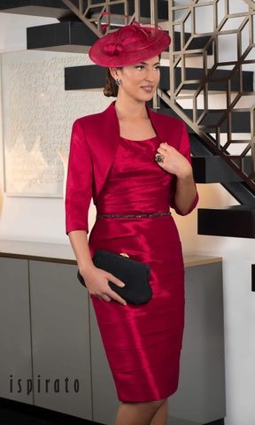 ISD929 Morello Red Ispirato Dress & Bolero - Fab Frocks