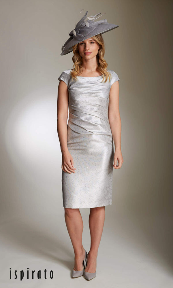 ISE920 Sterling Ispirato Silver Mother Of The Bride Dress & Bolero - Fab Frocks