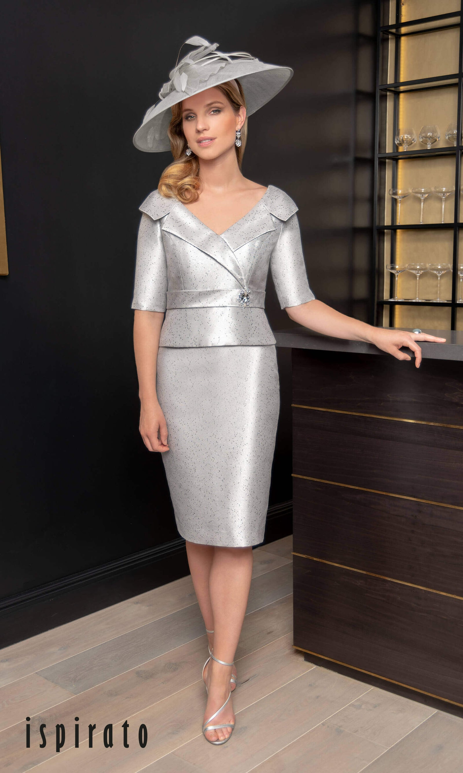 ISE817 Sterling Silver Grey Ispirato Special Occasion Dress - Fab Frocks