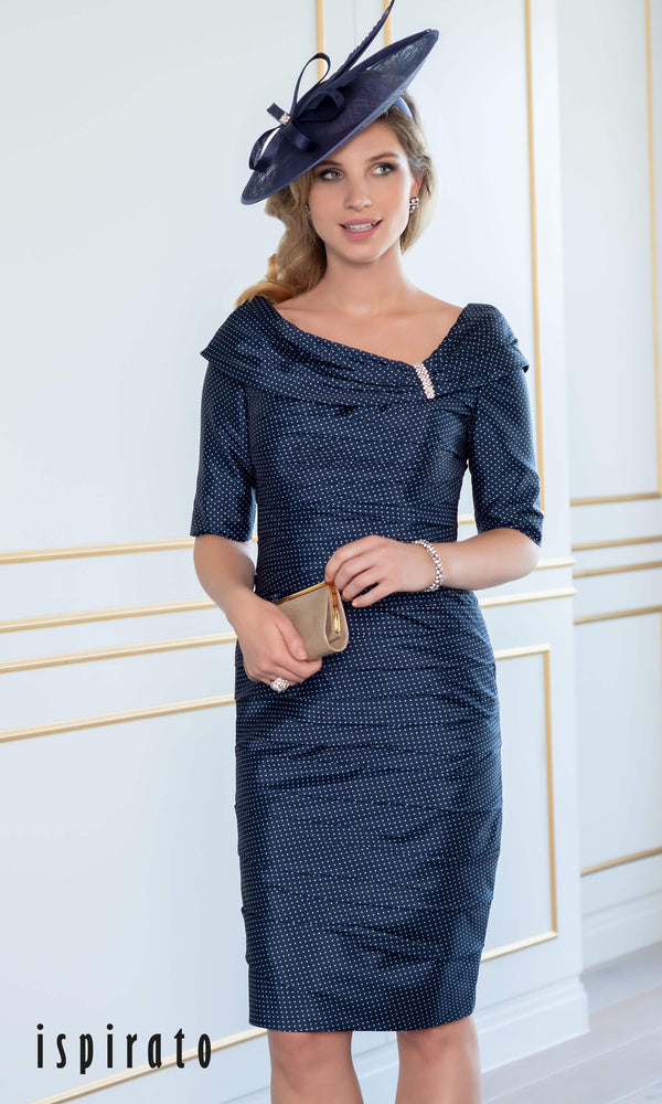 ISE830 Navy Shortbread Ispirato Mother Of The Bride Dress - Fab Frocks