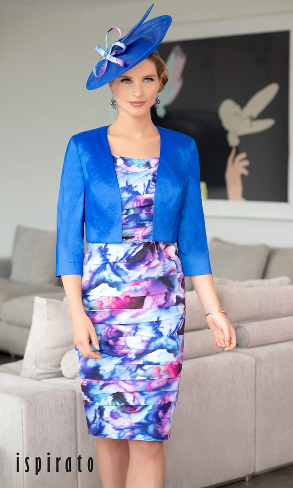 ISE945 Indigo Ispirato Angelica Print Ruched Dress & Bolero - Fab Frocks