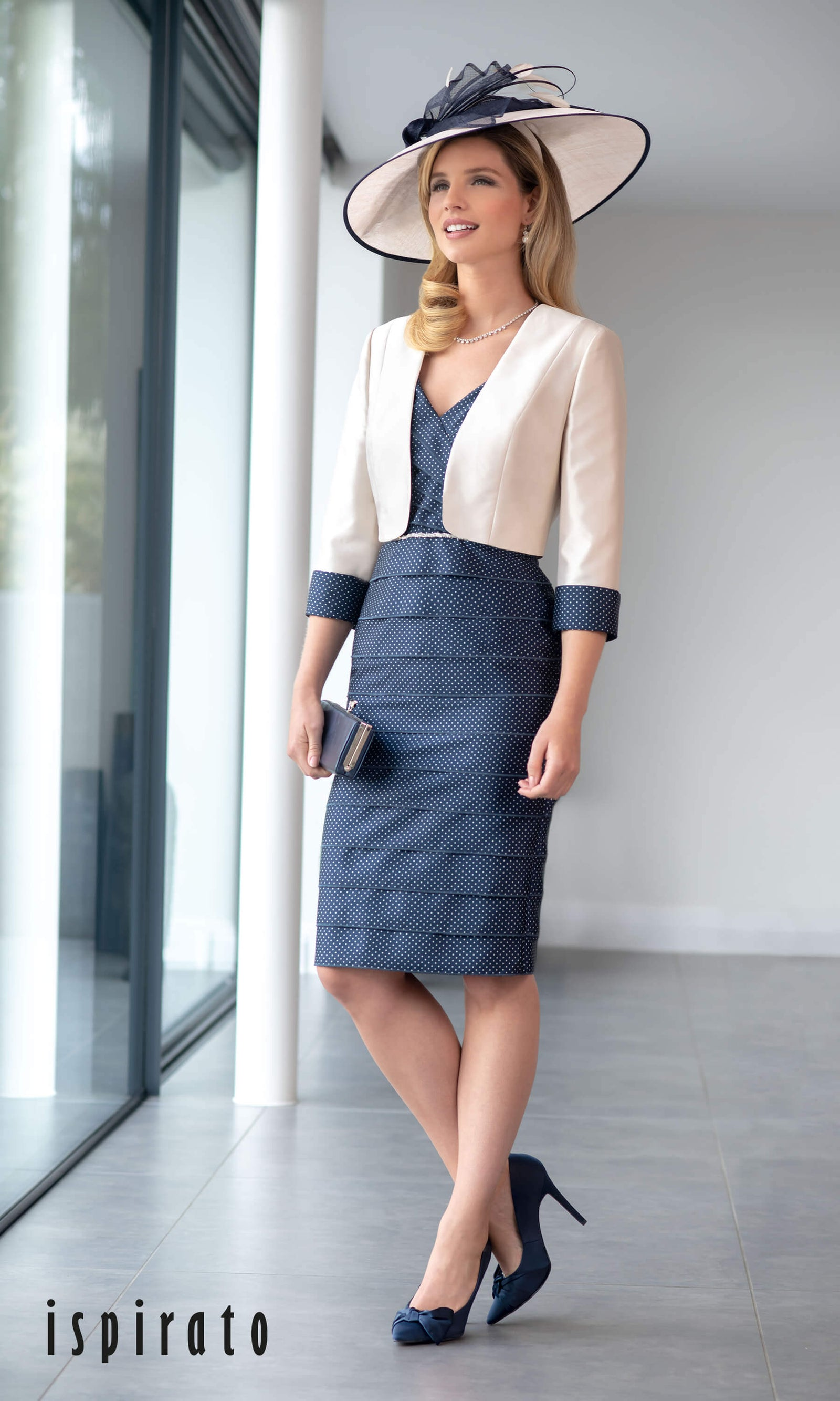ISE949 Navy Shortbread Ispirato Layered Dress & Bolero - Fab Frocks