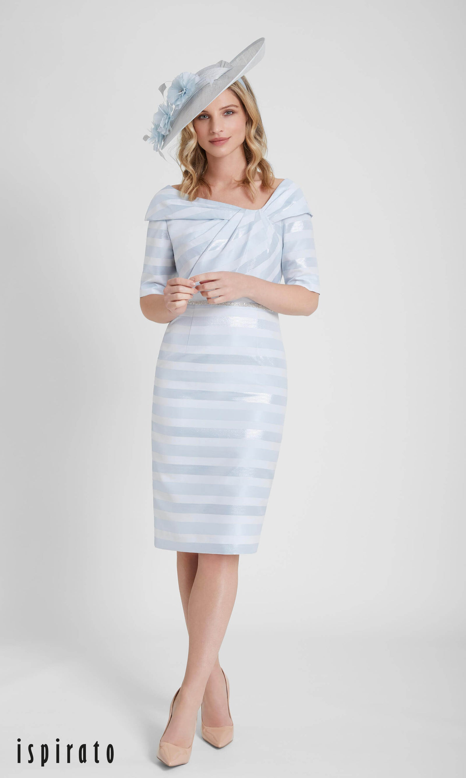ISF815 Amalfi Sky Blue Ispirato Stripe Occasion Dress - Fab Frocks