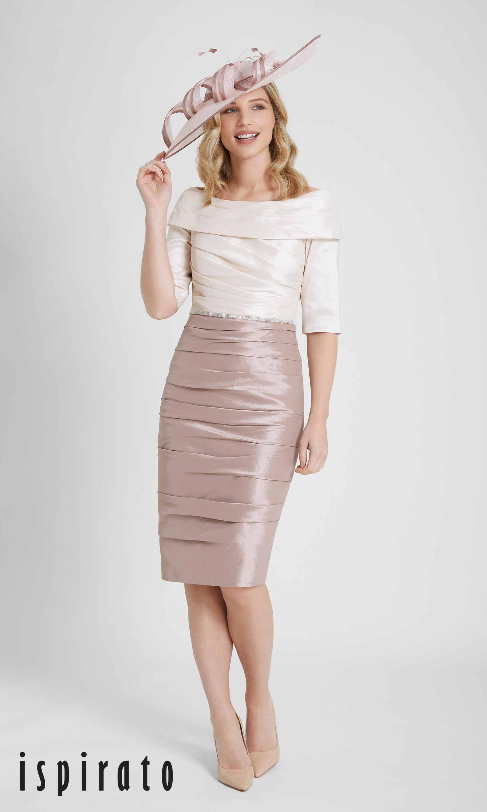 ISF826 Eggshell Honey Ispirato Ruched Occasion Dress - Fab Frocks
