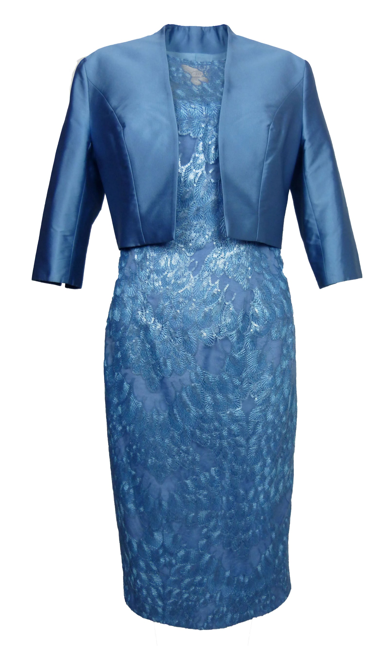 John Charles 26108A Periwinkle Dress & Bolero Jacket