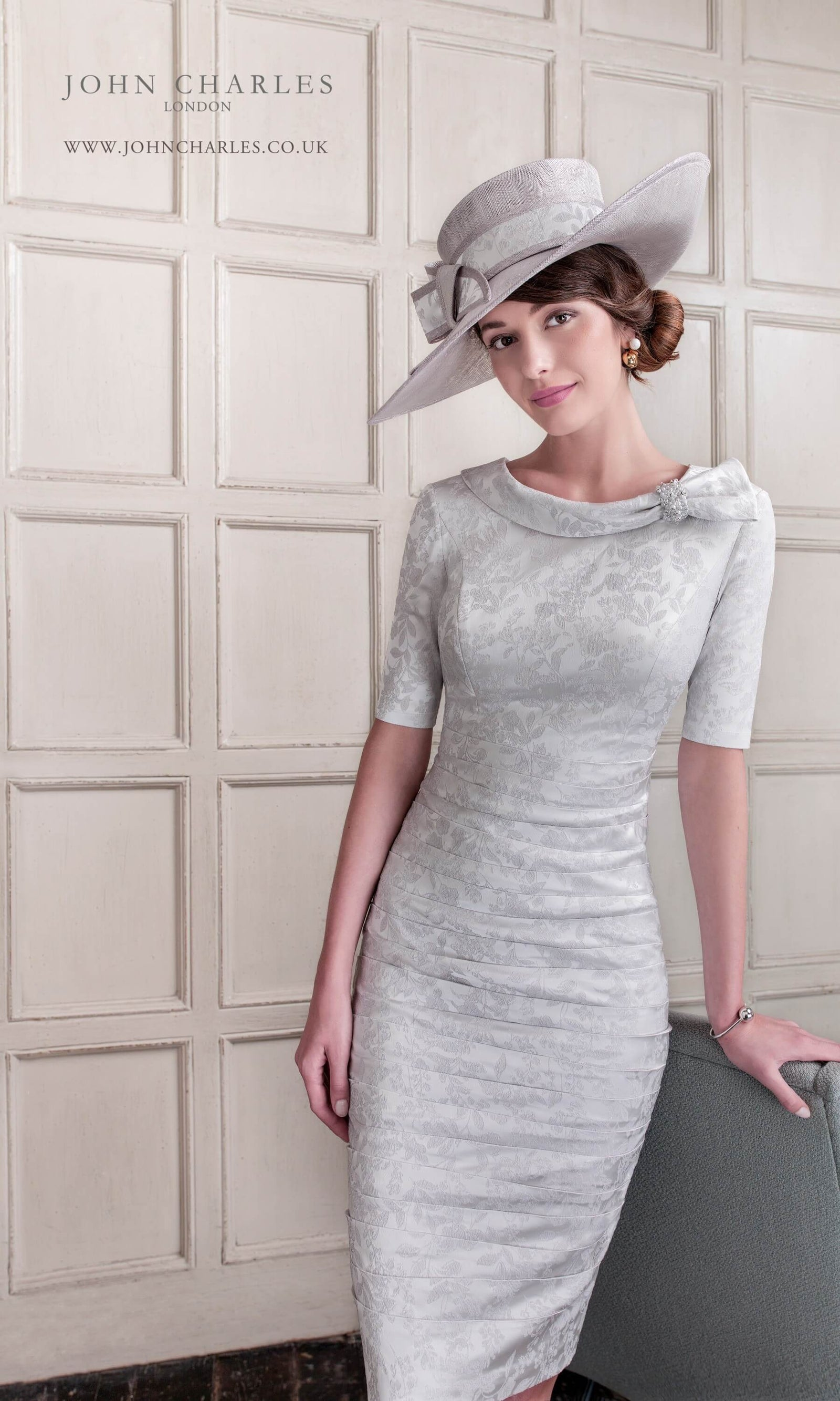 26453 Silver Grey John Charles Stretch Dress With Sleeves