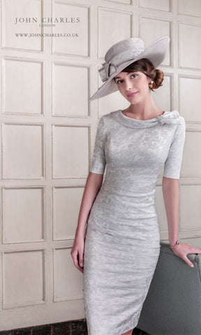 26453 Silver Grey John Charles Stretch Dress With Sleeves - Fab Frocks