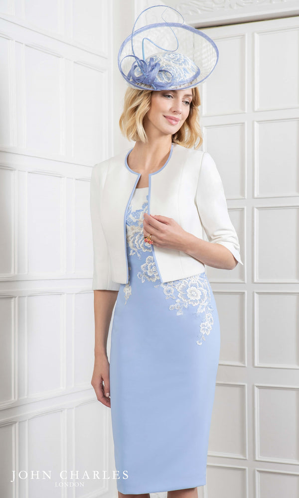 26609 Powder Blue John Charles Dress & Ivory Bolero